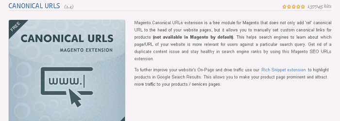 Magento Canonical URL's Extension